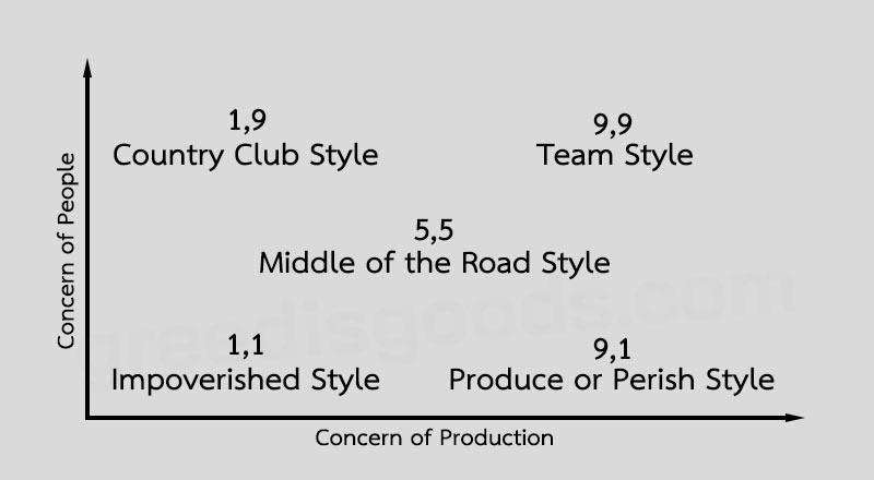 Managerial Grid คือ ทฤษฎี ตาข่ายการจัดการ คือ ทฤษฎีผู้นำ Blake and Mouton