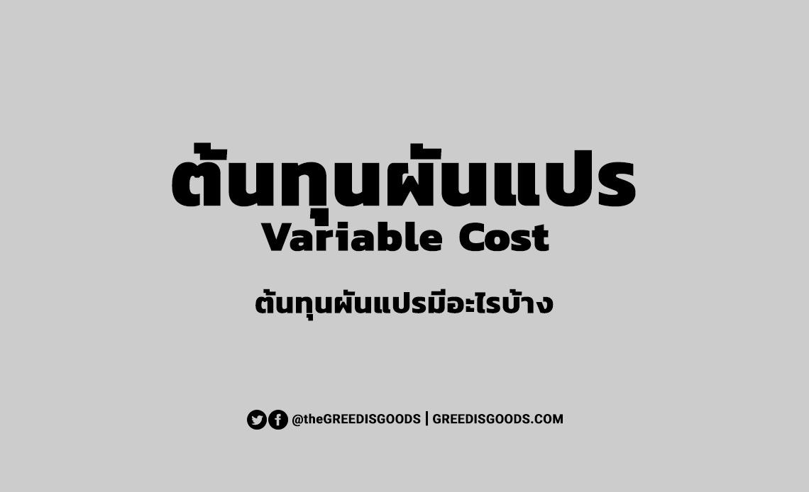 ต้นทุนผันแปร คือ Variable Cost ตัวอย่าง ต้นทุนผันแปร
