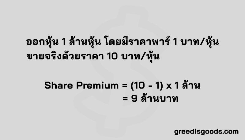 ส่วนเกินมูลค่าหุ้น คือ Share Premium คำนวณ ส่วนเกินมูลค่าหุ้น ส่วนของผู้ถือหุ้น ราคาพาร์