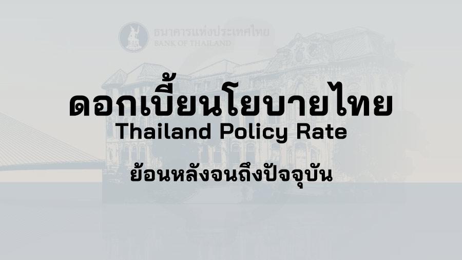 อัตรา ดอกเบี้ยนโยบาย ไทย Thailand Policy Rate ประชุม กนง ดอกเบี้ย นโยบาย ประเทศไทย ธนาคารแห่งประเทศไทย