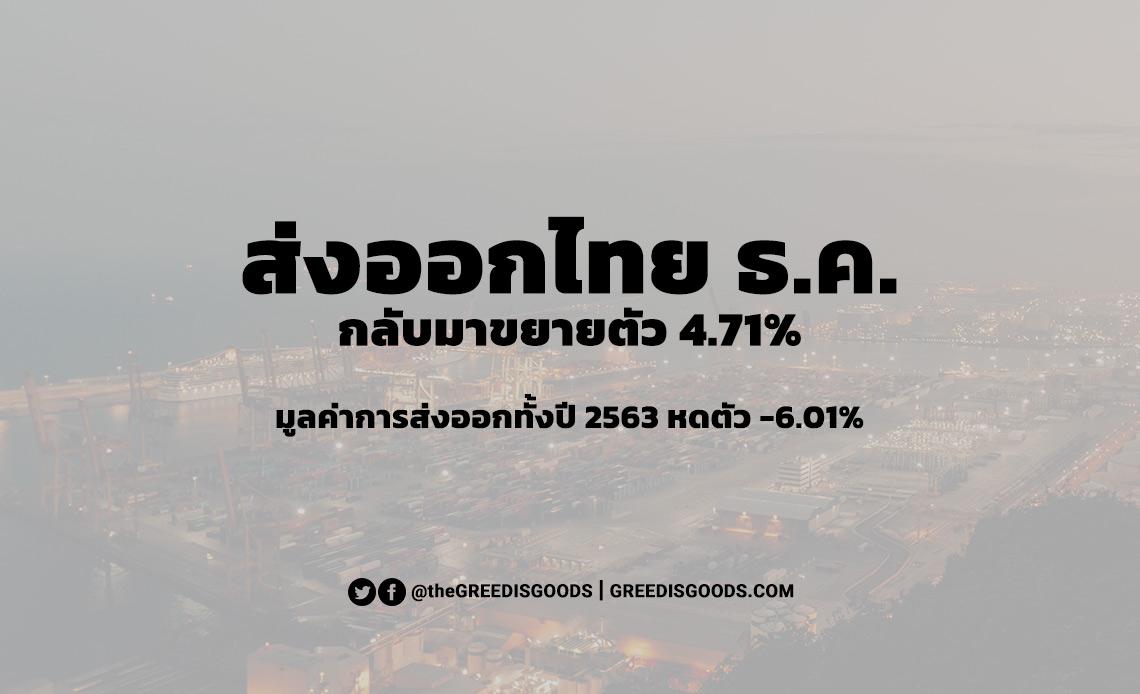 ส่งออกไทย ธันวาคม 2563 มูลค่าการส่งออกไทย ปี 2563 ทั้งปี